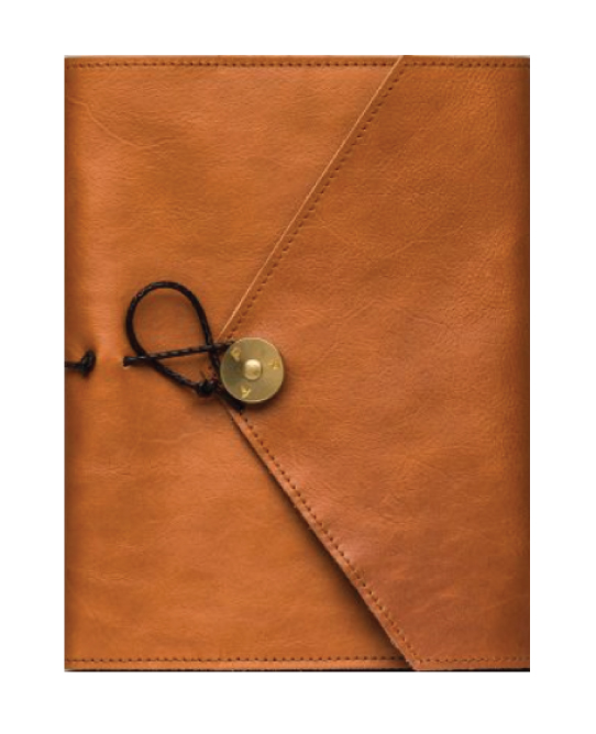 8bad559f P.A.P Skinncover A5 med penn og notatbok, Cognac - Basismal Paris